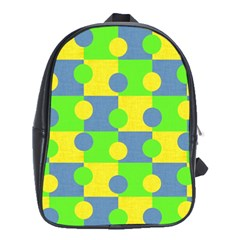 Abric Cotton Bright Blue Lime School Bags (xl)