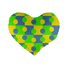 Abric Cotton Bright Blue Lime Standard 16  Premium Heart Shape Cushions