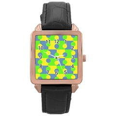 Abric Cotton Bright Blue Lime Rose Gold Leather Watch