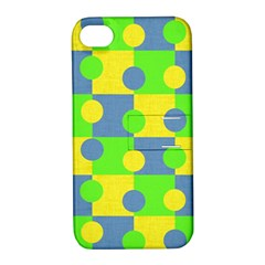 Abric Cotton Bright Blue Lime Apple Iphone 4/4s Hardshell Case With Stand
