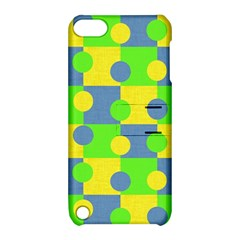 Abric Cotton Bright Blue Lime Apple Ipod Touch 5 Hardshell Case With Stand