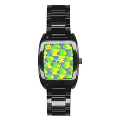 Abric Cotton Bright Blue Lime Stainless Steel Barrel Watch