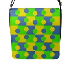 Abric Cotton Bright Blue Lime Flap Messenger Bag (l)
