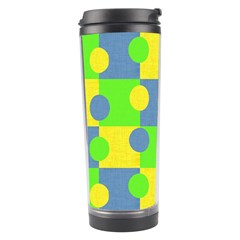 Abric Cotton Bright Blue Lime Travel Tumbler