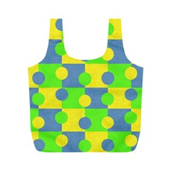 Abric Cotton Bright Blue Lime Full Print Recycle Bags (M)