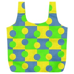 Abric Cotton Bright Blue Lime Full Print Recycle Bags (l)