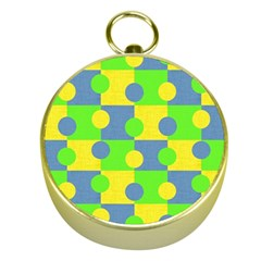 Abric Cotton Bright Blue Lime Gold Compasses