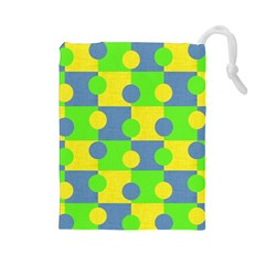 Abric Cotton Bright Blue Lime Drawstring Pouches (Large)