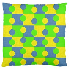 Abric Cotton Bright Blue Lime Large Flano Cushion Case (One Side)