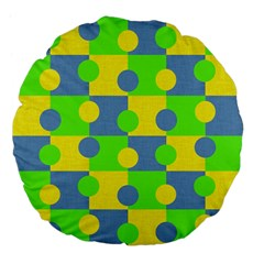 Abric Cotton Bright Blue Lime Large 18  Premium Flano Round Cushions