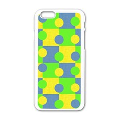 Abric Cotton Bright Blue Lime Apple iPhone 6/6S White Enamel Case