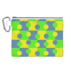 Abric Cotton Bright Blue Lime Canvas Cosmetic Bag (l)