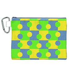 Abric Cotton Bright Blue Lime Canvas Cosmetic Bag (XL)
