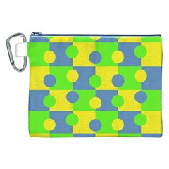 Abric Cotton Bright Blue Lime Canvas Cosmetic Bag (XXL)