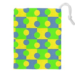 Abric Cotton Bright Blue Lime Drawstring Pouches (xxl)