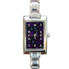 Retro Flower Pattern Design Batik Rectangle Italian Charm Watch