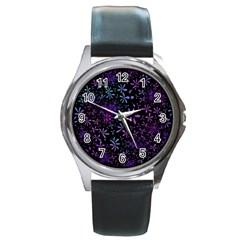 Retro Flower Pattern Design Batik Round Metal Watch