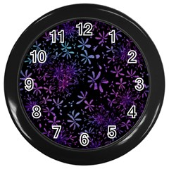 Retro Flower Pattern Design Batik Wall Clocks (Black)