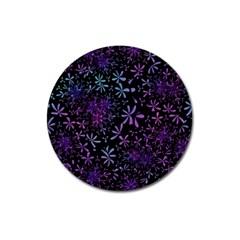 Retro Flower Pattern Design Batik Magnet 3  (Round)