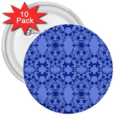 Floral Ornament Baby Boy Design Retro Pattern 3  Buttons (10 Pack)