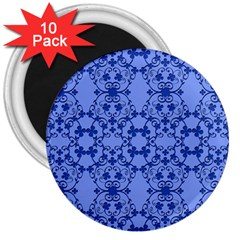 Floral Ornament Baby Boy Design Retro Pattern 3  Magnets (10 Pack)