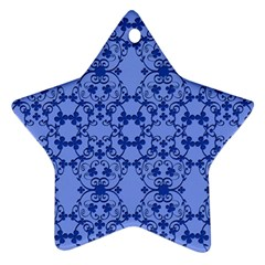 Floral Ornament Baby Boy Design Retro Pattern Star Ornament (Two Sides)