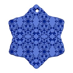 Floral Ornament Baby Boy Design Retro Pattern Snowflake Ornament (two Sides)