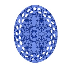 Floral Ornament Baby Boy Design Retro Pattern Ornament (Oval Filigree)