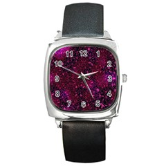 Retro Flower Pattern Design Batik Square Metal Watch