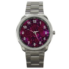 Retro Flower Pattern Design Batik Sport Metal Watch