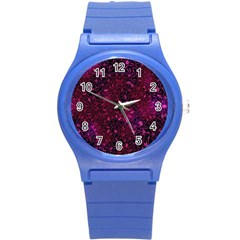 Retro Flower Pattern Design Batik Round Plastic Sport Watch (S)