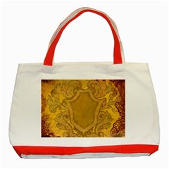 Vintage Scrapbook Old Ancient Retro Pattern Classic Tote Bag (Red)
