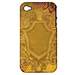 Vintage Scrapbook Old Ancient Retro Pattern Apple Iphone 4/4s Hardshell Case (pc+silicone)