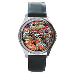 Art Background Bowl Ceramic Color Round Metal Watch