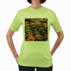 Art Background Bowl Ceramic Color Women s Green T Shirt
