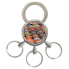 Art Background Bowl Ceramic Color 3-Ring Key Chains