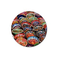 Art Background Bowl Ceramic Color Rubber Round Coaster (4 pack)