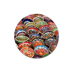 Art Background Bowl Ceramic Color Magnet 3  (Round)