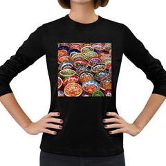 Art Background Bowl Ceramic Color Women s Long Sleeve Dark T Shirts