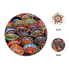 Art Background Bowl Ceramic Color Playing Cards (round)