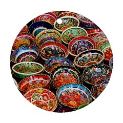 Art Background Bowl Ceramic Color Round Ornament (two Sides)