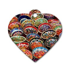 Art Background Bowl Ceramic Color Dog Tag Heart (Two Sides)