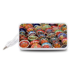 Art Background Bowl Ceramic Color Portable Speaker (White)