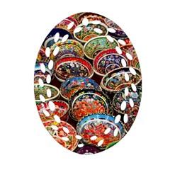 Art Background Bowl Ceramic Color Ornament (Oval Filigree)