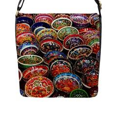 Art Background Bowl Ceramic Color Flap Messenger Bag (l)