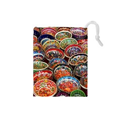 Art Background Bowl Ceramic Color Drawstring Pouches (Small)