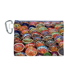 Art Background Bowl Ceramic Color Canvas Cosmetic Bag (m)