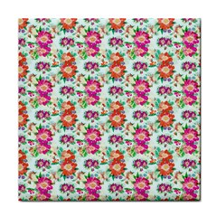 Floral Flower Pattern Seamless Tile Coasters