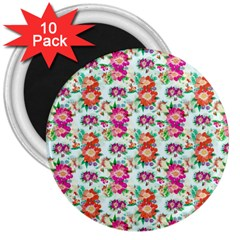 Floral Flower Pattern Seamless 3  Magnets (10 Pack)