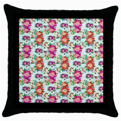 Floral Flower Pattern Seamless Throw Pillow Case (black)